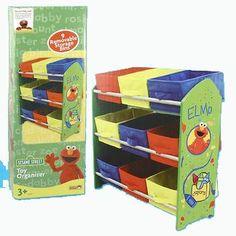 Amazon.com: Sesame Street Kids Furniture Collection - Elmo Toy Organizer with 9 storage bins: Toys & Games