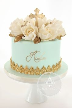 Gold & light aqua blue baptism cake featured hand painted gold text by : Maryam's Cakery https://www.facebook.com/maryamscakery