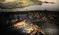 Modell av Vikingastaden Birka Mälaren Stockholm Sverige/Model of the Viking town of Birka Malaren Stockholm Sweden.