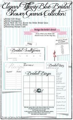 Tiffany Blue Bridal Shower Game Set DIY by TheAffairShop on Etsy, $13.50