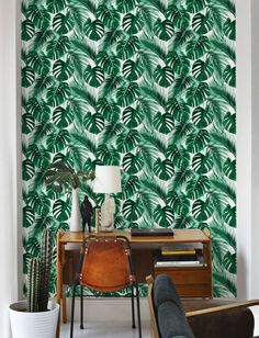 Items similar to Stunning Palm leaf Wallpaper / Removable / Self adhesive Wallpaper / Monstera Leaf Pattern Wall Covering / Tropical wallpaper - 134 on Etsy Palm Leaf Wallpaper, Tropical Wallpaper, Temporary Wallpaper, Fabric Wallpaper, Pattern Wallpaper, Self Adhesive Wallpaper, Wall Patterns, Vinyl, White Wood
