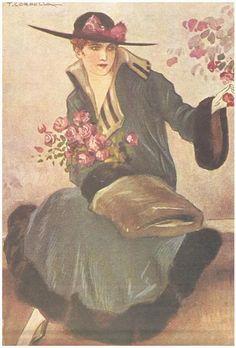 The skins in women's clothing,  postcard, 1918 .  Author: Tito Corbella.  The Fashion through ticket Illustrated Postal 1900-1950. Lisbon: Ecosoluções