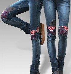 $52.74 Embroidered long jeans /embroidery jean pants/ladies jean pants, blooming peony
