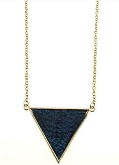 Blue Snakeskin Triangle Gold Long Chain Necklace