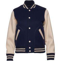 Shrunken Varsity Jacket (£645) ❤ liked on Polyvore featuring outerwear, jackets, blue, men, marc jacobs, woven jacket, blue varsity jacket, marc jacobs jacket and varsity style jacket