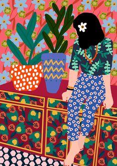 Rafaela Mascaro's Colorful and Happy Illustrations - Trend Illustration Design 2019 Art And Illustration, Illustration Design Graphique, Art Inspo, Kunst Inspo, Inspiration Art, Hawaiian Girls, Art Watercolor, Poster S, Canvas Prints