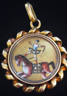 1800s Whimsy Pendant 18k Gold and Enamel