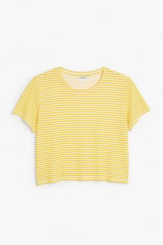 Monki Image 1 of Cropped tee in Yellow Reddish