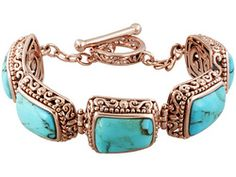 Timna Jewelry Collection (Tm) Fancy Cut Cabochon Turquoise Copper Bracelet