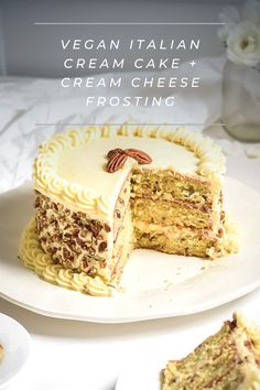 Wow, this is the BEST Italian Cream Cake I've ever tried! I'm so glad I found this recipe! Fast Healthy Meals, Healthy Desserts, Cake With Cream Cheese, Cream Cheese Frosting, Dairy Free Recipes, Vegan Recipes, Whole Food Recipes, Cake Recipes, Italian Cream Cakes
