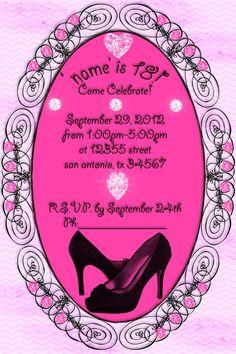 templates invitations pink black shoestheme - Google Search