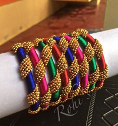 Silk Thread Earrings Designs, Silk Thread Bangles Design, Silk Thread Necklace, Silk Bangles, Beaded Necklace Patterns, Bridal Bangles, Thread Jewellery, Jewelry Patterns, Hand Embroidery Videos