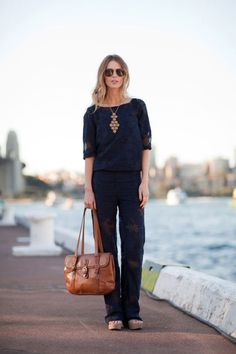 Matching navy separates add up to a louche look.