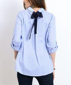 Look what I found on #zulily! Denim Pinstripe Tie-Back Button-Up Top #zulilyfinds