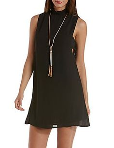 Side-Bar Cut-Out Mock Neck Dress: Charlotte Russe  (Just The Necklace)
