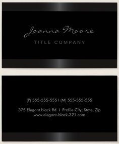 Elegant stylish satin gray border black business card. Stylish, black personal profile or business featuring soft, dark gray gradient borders top and bottom. Customizable name and title / company name on the front and contact information on the back. Stylish and classy design. Great lawyer, attorney or accountant business card.