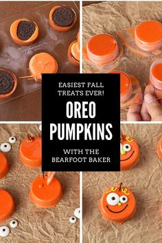 These chocolate covered Oreos make cute fall or Halloween pumpkin treats! Make these as Halloween cookies with your kids, or bring these treats as a fall party dessert. Cute chocolate covered Oreos have never been so easy! Visit the blog for the full tutorial on how to make these pumpkin cookies out of chocolate and Oreos! #thebearfootbaker #bakingwithkids #halloween #halloween2021 Halloween 20, Halloween Cookies, Halloween Pumpkins, Halloween Decorations, Pumpkin Cookies, Sugar Cookies, Baking With Kids, Chocolate Covered Oreos, Fall Treats