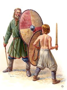 Education boy dealing with sword and shield, X century.  According to the materials and ancient Scandinavian burials.