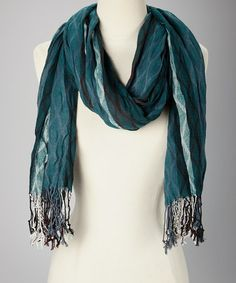 Take a look at this Dark Sea Green Lattice Wintry Scarf by Ann Carol Designs on #zulily today!