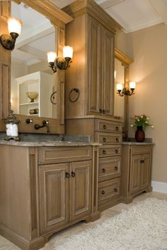 Love this idea of light cabinets in our bathroom we're adding on soon !