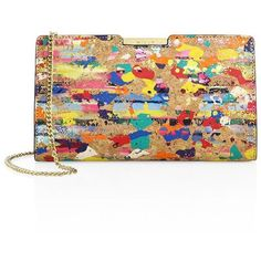 MILLY Small Splatter Paint Cork Frame Clutch ($179) ❤ liked on Polyvore featuring bags, handbags, clutches, chain handle handbags, hand bags, frame clutch, chain strap purse and cork handbags