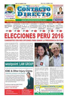 Contacto Directo Edición 8 de Abril 2016  SEMANARIO CONTACTO DIRECTO  EDICIÓN 8 DE ABRIL  VANCOUVER CANADA