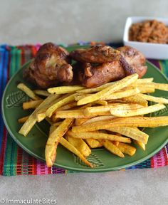 African Fried Chicken & Plantain Fries - Immaculate Bites - Immaculate Bites - African Fried Chicken & Plantain Fries - Immaculate Bites African Fried Chicken and Plantain fries - Ghanaian Food, Nigerian Food, A Food, Good Food, Plantain Recipes, Fried Chicken, Chicken Bites, International Recipes, Afrikaans