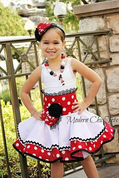 Minnie Mouse Inspired Half Apron Dress Costume by ModernChicTots, $77.00