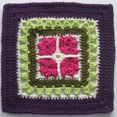 "Day 2: 12"" Block of the Day - The Efflorescent Window by Delphis  Free Pattern: http://www.ravelry.com/patterns/library/the-efflorescent-window  July 2013 #TheCrochetLounge #12inch Pick #grannysquare #crochet"