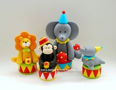 Edible Fondant Circus Animals Cake Toppers by EdibleDesignsByLetty, $72.25