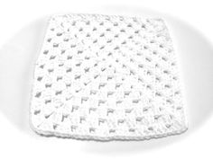 White Crocheted Square Dish Cloth by MeAndMomsCrafts on Etsy