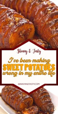 Sweet Potatoes Recipe - Skinny Tasty Recipes - sweet potatoes Recipe, I've Been Making Sweet Potatoes Wrong My Entire Life check my magic method - Potato Side Dishes, Vegetable Side Dishes, Vegetable Recipes, Sweet Potato Pecan, Sweet Potato Recipes, Baked Potato, Side Dish Recipes, Great Recipes, Favorite Recipes