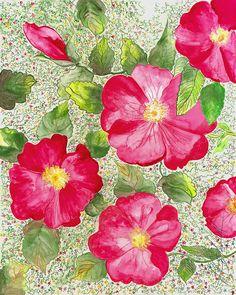 ' Wild Roses and mini flowers' 1994 L. Stilnovich  watercolor