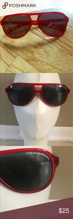 "Beautiful red Armani Exchange sunglasses. Beautiful red plastic Armani Exchange sunglasses. Plastic lens with no scratches. Arm is about 6"" and width is about 5 1/2"".  No case. A/X Armani Exchange Accessories Sunglasses"