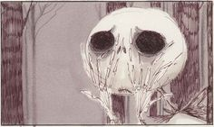 """Tim Burton. (American, b. 1958), Tim Burton's The Nightmare Before Christmas storyboard. 1993. Pen and ink, marker, and colored pencil on paper, 5 x 7"""" (12.7 x 17.8 cm). Private Collection. © 2009 Tim Burton."""