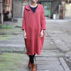 Autumn/Winter Cotton Loose Hooded Dress