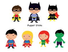 FREE super hero puppet sticks.
