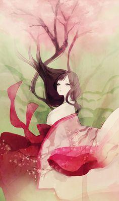anime girl in kimono with long hair