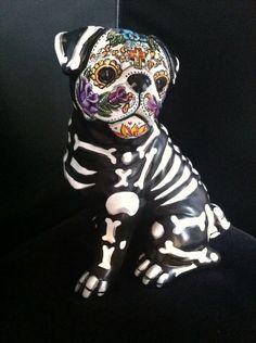 Day of the Dead Painted Sugar Skull Dog Statue Pug Figurine Dia De Los Muertos
