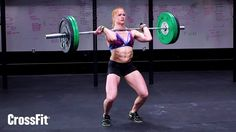 a lesson of efficiency in a wod. she already starts the work with the alternated grip, saving strength for all the reps to come. the deadlifts are not only a lower back theme, but she actively pulls her hips to the back.  she could have gone the 12 reps unbroken, but she rearranges her grip and turn the last rep into a pause clean, gaining one rep in the process. look how she bounces the bar on her thighs. every rep is a setup for the next one. finally, all her body synched on the push…