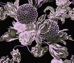 Mid Century Modern Floral ~ Black and Lilac fabric by peacoquettedesigns on Spoonflower - custom fabric