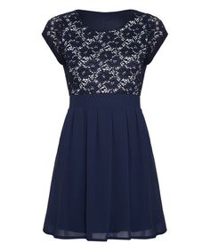 Look what I found on #zulily! Navy Lace Tie-Back A-Line Dress #zulilyfinds