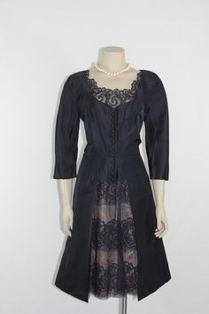 1950s Vintage Dress - Dark Blue Taffeta with Lace Peekaboo Cutout Skirt - 40 / 33 / 44