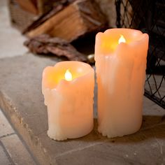 Pair of LED Church Pillar Candles with Heavy Dripping Wax, Battery Operated