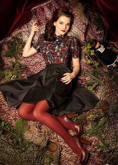 SHEER FUN Alice frolics Christmas vintage style wardrobe love the berry red tights