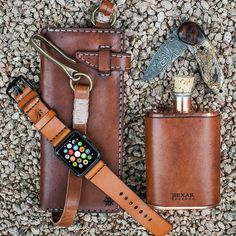 Pocket dump with our new Apple Watch leather straps.  #applewatch by bexargoods