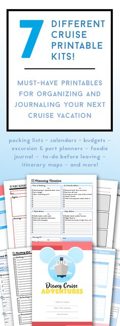 A5 Disney Cruise Planner Travel Agenda Cruise Itinerary - itinerary template