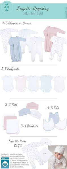 Not sure what youll need for babys first few weeks?  This starter list will help you get babys layette together!