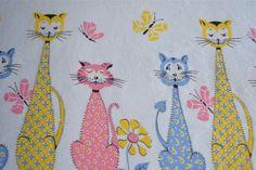 Vintage Border Fabric  Mod Mid Century Cats in by pumpkintruck, $25.00