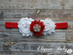 Handmade Custom White and Red Christmas Holiday Inspired Crystal Rhinestone Headband - Perfect for Newborns to Adults - Made to Match - pinned by pin4etsy.com
